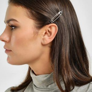 Safety Pin Hair Clip (Silver)